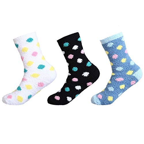 Socks Dot Fuzzy (IMOZY Women's Winter Crew Socks- Colorful Polka Dots Cozy Soft Fuzzy Plush Socks Pack for Big Girls and Women- 3 Pairs in White Black and Blue)