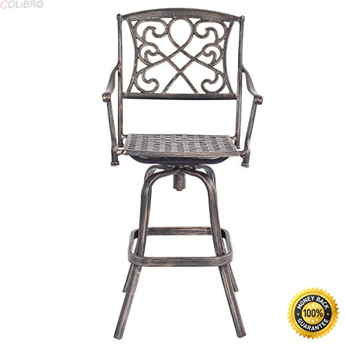 COLIBROX--Cast Aluminum Swivel Bar Stool Patio Furniture Antique Copper Design Outdoor New,kitchen island bar stools, bar stools for sale,industrial bar stools vintage,retro bar stools (Bar Bar And Sale Stools For)