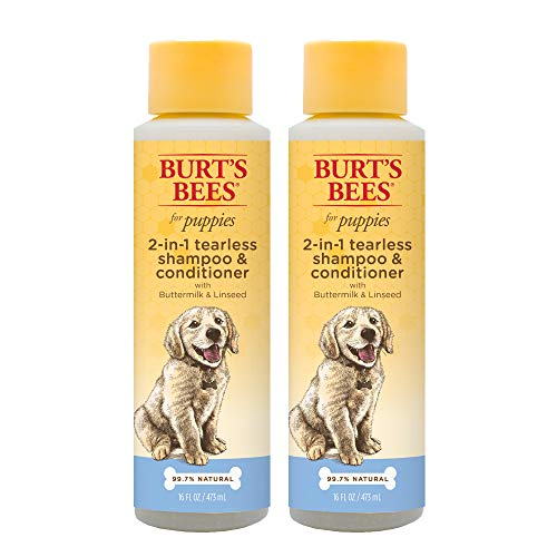 Burts Bees for Dogs All-Natural Tearless 2 In 1 Shampoo & Conditioner   Best Shampoo & Conditioner for All Dogs & Puppies, Pack of 2