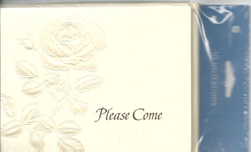 Please Come Shiny Embossed Rose Invitation 10 Count with Card and Envelopes