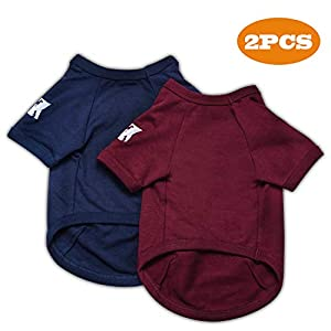 Koneseve Dog Shirts Cotton T-Shirt Soft Clothes, Basic Breathable Hoodie Sweater Bottoming Shirt for Small Dog Cat Puppy Animal Adorable Cozy Apparel Cute Fashion Costume Blue & Red 2 Packs 22