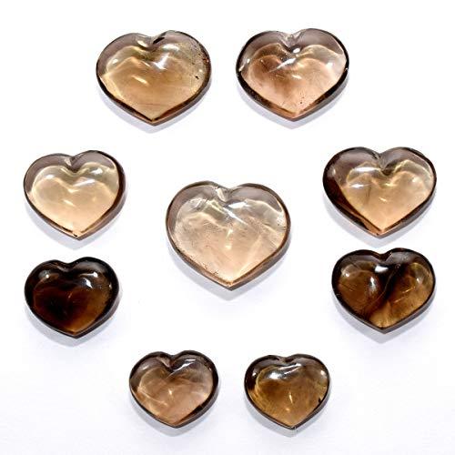 Pair 26mm Smoky Quartz Puffy Hearts Polished Natural Sparkling Brown Gemstone Crystal Mineral Specimens - China (2PCS)