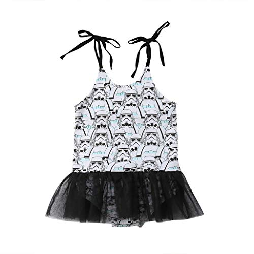 0-4T Toddler Kids Baby Girl Clothes Star Wars Outfit Strap Princess Tutu Romper Cute Infantil Clothing, 6M -