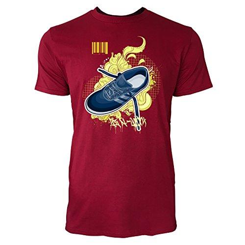 SINUS ART ® Blauer Turnschuh mit Ornamenten Herren T-Shirts in Independence Rot Fun Shirt mit tollen Aufdruck