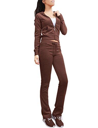 Brown Velour Hoodie Jacket - NE PEOPLE Womens Casual Basic Velour Zip Up Hoodie Sweatsuit Tracksuit Set S-3XL Brown