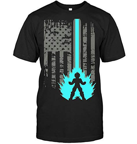 Dragon Ball Z DBZ Goku Vegeta Super Saiyan America Flag E (Unisex T-Shirt;Black;M)
