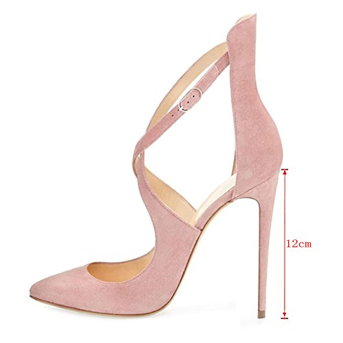 MERUMOTE - Zapatos de vestir de Material Sintético para mujer Pink-Faux Wildleder
