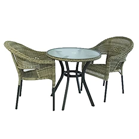 Edenjardi Conjunto para balcón o terraza, Mesa Redonda de 72 cm y 2 sillones apilables, Aluminio y ratán sintético Color Natural