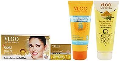 VLCC Gold Facial Kit, Haldi Tulsi Facewash and Bleach and Sun Screen Gel Combo