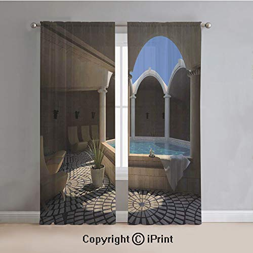 Landscape Sheer Curtains Window Voile,Inside View of A Spa Hotel with Bathtub in the Circle Centre Therapy Photo Print Decorative,for Bedroom,Living Room,Kitchen,2 Panels Set,54x96Inches,Grey Blue (Galaxy Therapy Bench)
