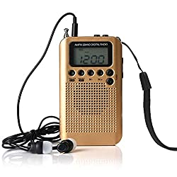 Tralntion AM/FM Battery Operated Radio Wireless Portable Mini Pocket External Clear Receiver Speaker Music Player