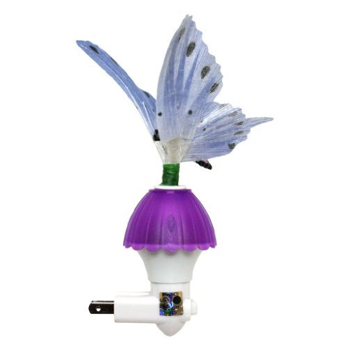 Bettli Put Fiber Optic Butterfly LED Color Change Night Light Decor Lamp Gift Toy (Purple)