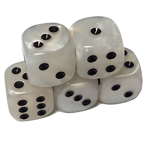 (Set of 5 Deluxe White Pearl Marbleized Dice Round Corner 16mm Black Spots in Snow Organza Bag)