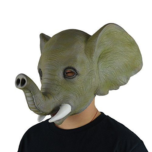 [LarpGears Halloween Costume Party Elephant Latex Animal Mask] (Scary Face Paint Halloween Costumes)