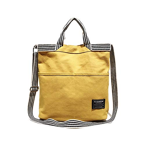 YNNB Freizeit Leinwand Handtasche, Fashion Stripe damen Tote Tasche Große Kapazität Shoulder Tasche Wild Crossbody Bag Shopping Tasche für Schularbeitsreisen und Daily,Gelb B07PLY49QS Rucksackhandtaschen Die Farbe ist sehr auffällig