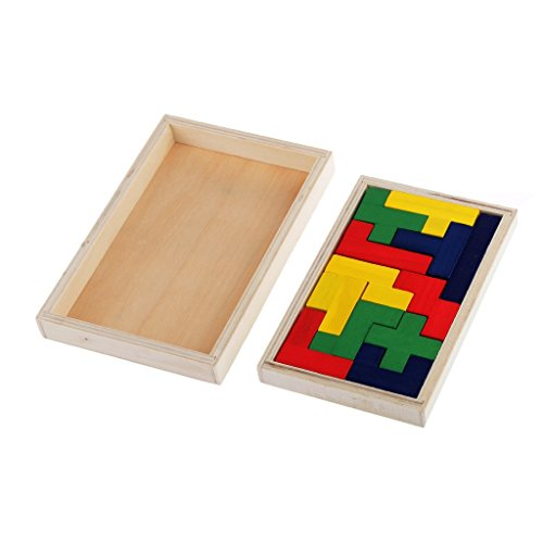 Flormoon Pentomino Puzzle Wooden Brain Teaser Mind Novelty Trick Kids Learning Toys (Set Pentominoes)