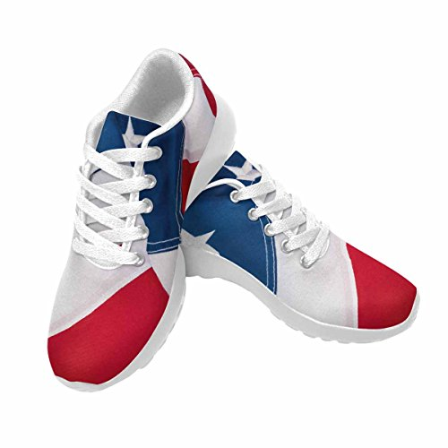D-story Jogging Running Sneaker Bandera Americana Mujeres Casual Confort Deportes Calzado De Running Blanco