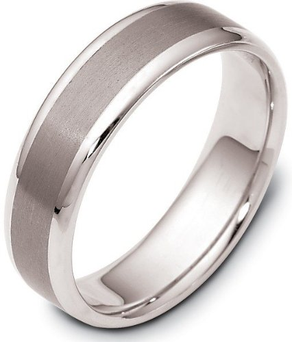 Dora Titanium Ring (6mm Wide Stylish Titanium & 14 Karat White Gold Wedding Band Ring - 12.25)