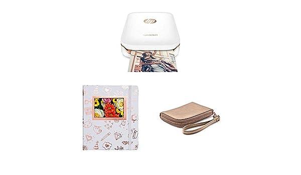 HP Sprocket - Impresora fotográfica portátil (impresión sin tinta, Bluetooth) + Álbum de fotografía y protector, color oro/blanco + Funda para ...