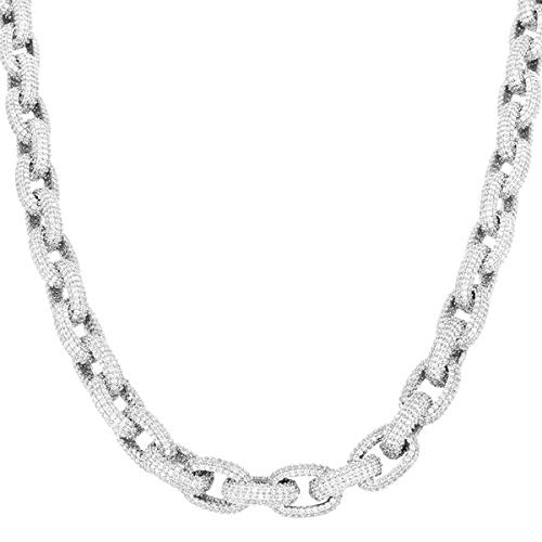 (Harlembling Solid 925 Sterling Silver Men's Iced Out Rolo Chain Or Bracelet - Heavy 120-190 Grams 12mm - ICY Bust Down Necklace (8.5))