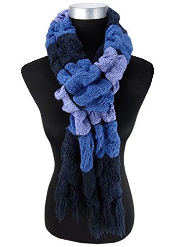 écharpe tricotée en bleu marine flieder à motifs avec franges - écharpe 27x220 cm