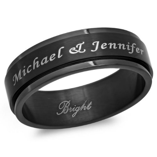 Personalized 8mm Stainless Steel All Black Ip Spinner Ring - Free Engraving (8)