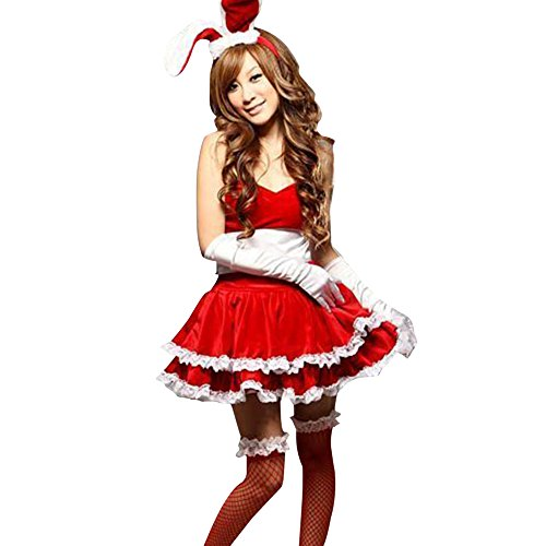 [Red Santa Claus Christmas Sexy Bunny Body Suit Rabbit Costume Role Playing Cosplay] (Bunny Suit Sexy)
