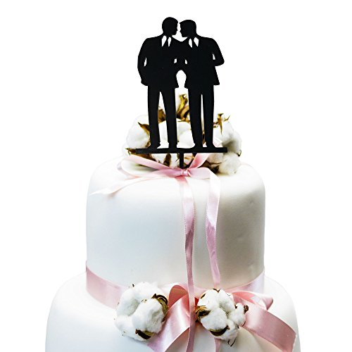 Price comparison product image JennyGems Same Sex Gay Wedding Cake Topper Decoration - Anniversary Cake Topper - Groom & Groom