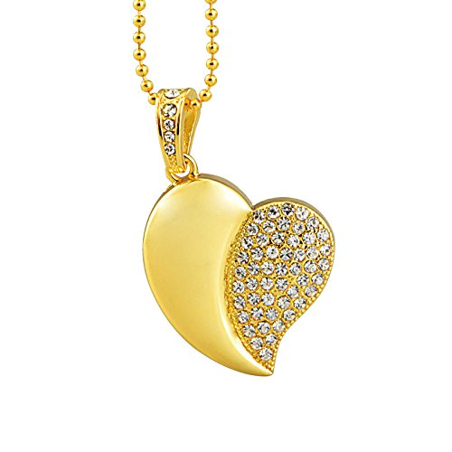 KEATHY 16GB USB Flash Drive USB 2.0 Crystal Heart Shape with Necklace Super - Gold