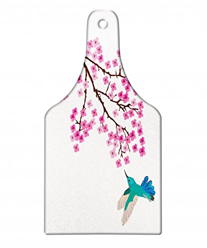 Lunarable Hummingbird Cutting Board, Japanese Cherry Blossom Illustration with Small Bird Cartoon Flora and Fauna, Decorative Tempered Glass Cutting and Serving Board, Wine Bottle Shape, Multicolor by Lunarable