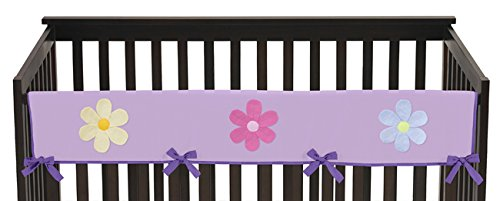 Danielles Crib Daisies (Sweet Jojo Designs Daisies Purple Flowers Long Front Rail Guard Baby Teething Cover Crib Protector Wrap)