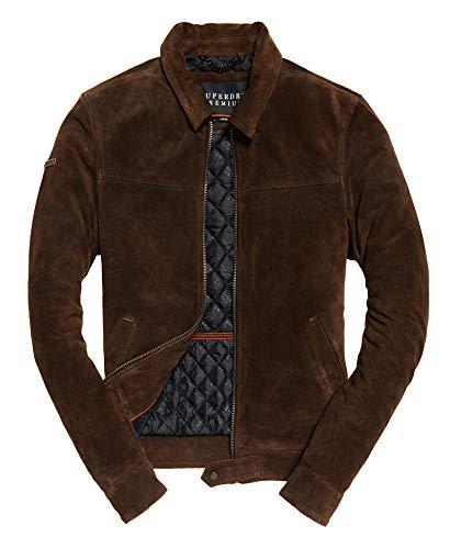 Superdry Premium Indiana Leather Jacket Brown (Superdry Mens Leather Jacket)