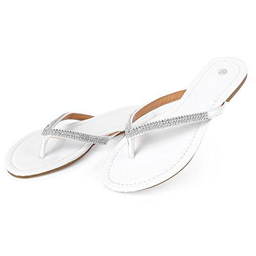 DULEE - Sandalias de vestir de poliuretano para mujer Weiß