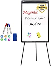 Stand White Board 36 x 24 Magnetic Dry Erase Board Tripod Easel Board Portable Flipchart Board