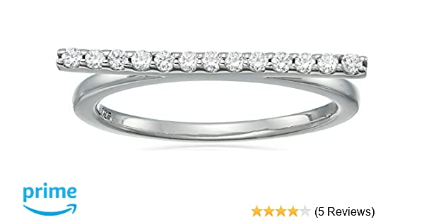 af31dc0794562 Amazon.com: Platinum-Plated Sterling Silver Swarovski Zirconia Bar ...