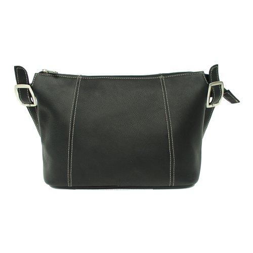 Piel Leather Medium Shoulder Bag, Black, One Size