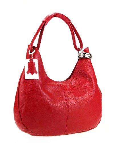 Made Italy - Bolso al hombro de cuero para mujer 42x26x10 cm (BxHxT), color azul, talla 42x26x10 cm (BxHxT) rojo - rojo