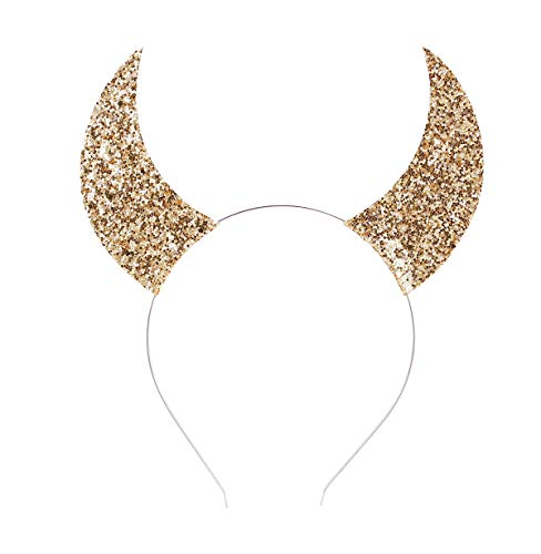 Love Fairy Halloween Sequins Devil Horns Headband Cosplay Masquerade Props Holiday Party Headband (Gold)]()