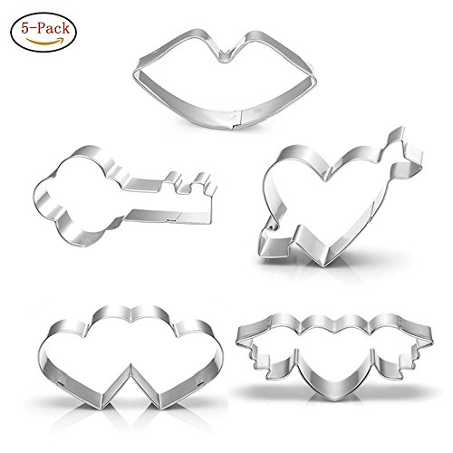 3 Type Heart & Key & Red Lips Cookie Cutter Set for Love - 5 piece Set