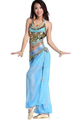 ZLTdream Lady's Belly Dance Chiffon Banadge Top and Lantern Coins Pants Light Blue, One -