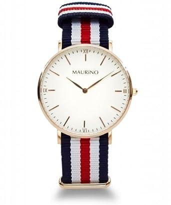 MAURINO Herren Armbanduhr Analog Quarz Textil Rose Gold 40mm M01613