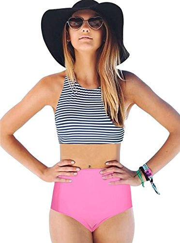 Women-Girls-2-Piece-Swimsuits-High-Waisted-Bathing-Suits-Bikini-Set