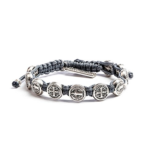 (My Saint My Hero Handwoven Benedictine Blessing Bracelet, Adjustable (Silver Plated Medals on Gray))