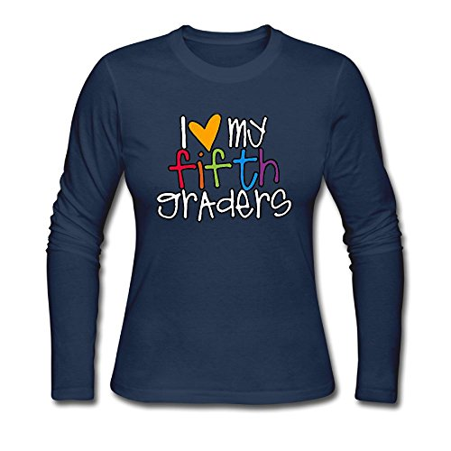 Qear I Love My Fifth Graders Women's Long-sleeved Round Neck T-shirts Navy S