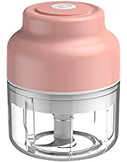 2021 Improved Electric Mini Garlic Chopper, Wireless Portable Mini Electric Food Chopper, Rechargeable, Powerful Food Processor for Garlic/Onions/Nuts/Pepper/Ginger, Baby Food Maker, Vegetable Chopper, Kitchen Appliances, Electric Grinder, Portable, Easy Cleaning, BPA Free, 100ml, Pink/Blue