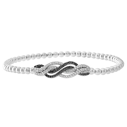 1/3 CTTW White & Treated Black Diamond (IJ/I2I3) Intertwined Sterling Silver Stretch Bead Bracelet 7'' by Brilliant Designers