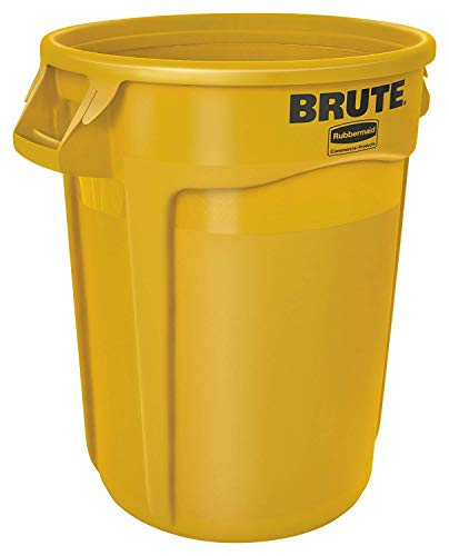 Rubbermaid Commercial Products FG264360YEL BRUTE Heavy-Duty Round Trash/Garbage Can, 44-Gallon, Yellow ()