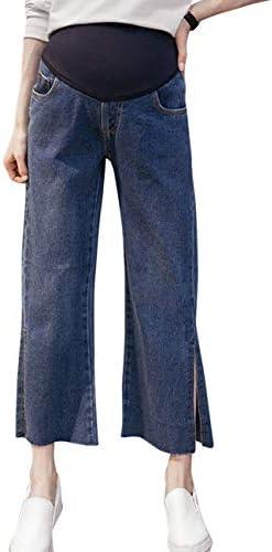 マタニティ デニムパンツ レディース カジュアル 美脚 マタニティ ジーンズ 快適な ルーズ - Pregnancy womens Wide leg Denims 産前産後 パンツ [Zhhlaixing]