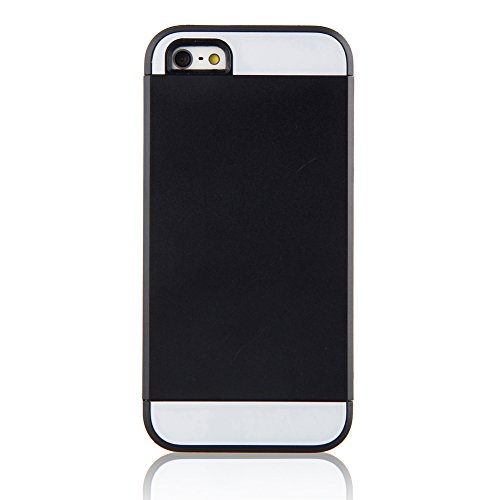 TOPCHANCES Beautiful and Elegant Candy Color Case Cover for iPhone 5C -Black+Black+White