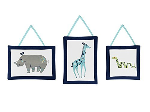 Sweet Jojo Designs 3-Piece Turquoise and Navy Blue Safari Animal Wall Hanging Decor for Mod Jungle Collection